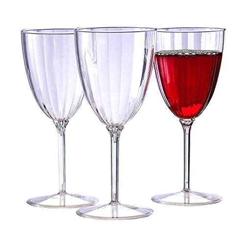 Silver Spoons CLASSIC STEMWARE DISPOSABLE PLASTIC WINE GLASSES   for Upscale Wedding and Dining   Includes 12 pc, 8 oz. goblets - 10227