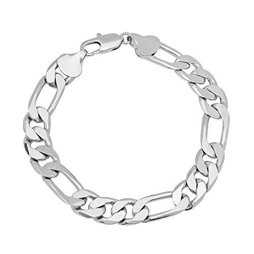 10mm Rhodium Plated Figaro Chain Bracelet, 7