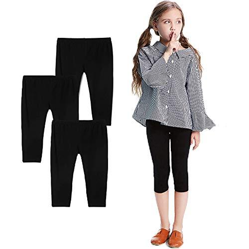 Bear Mall 3-Pack Capris Leggings Girls/Girls' Cotton Capri Crop Summer Leggings for School ()