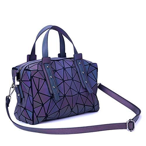 (Geometric Holographic Purses Luminous Handbags - Large Tote Top-Handle Bags with Zipper Closure Satchel Boston Bags)