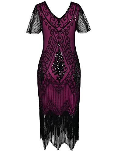 Women's Deco Sequin Sleeve with Dress Flapper Art 1920s Dress Rose PrettyGuide Black d6wHqXX