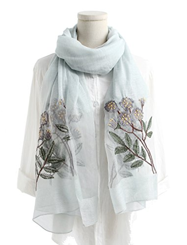 (WS Natural Silk Wool Scarf/Shawl/Wrap/Sheer For Women Lightweight Fashion Scarves With Gift Packaging (Light)