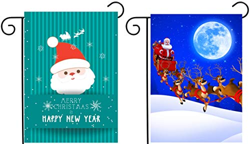 ShineSnow 2 Pack Merry Christmas Santa Claus with Sleigh Deer Bell Happy New Year Snow Garden Yard Flag 12