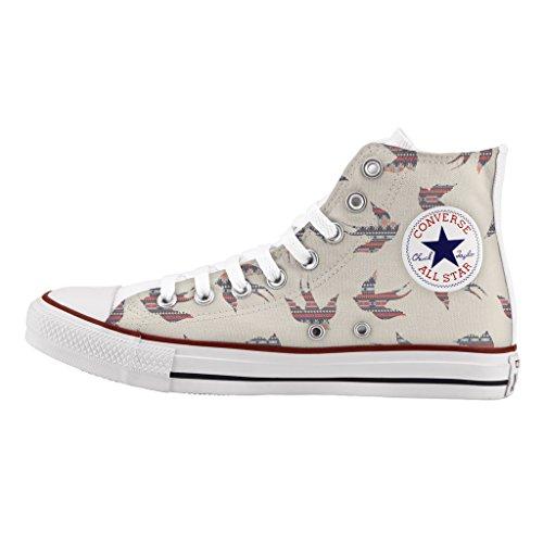 Birds Alta All Tribal Stampa Star Personalizzate Converse Sneakers Scarpe x8ag1f