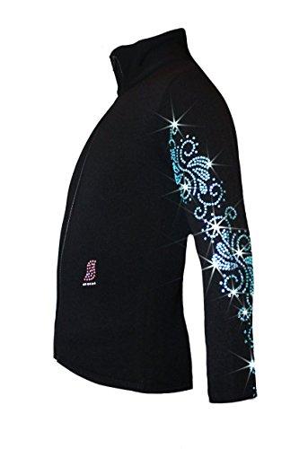 Ice Fire Polartec Figure Skating Jacket with Crystals Swirls Design (Aqua Crystals, Child Medium)