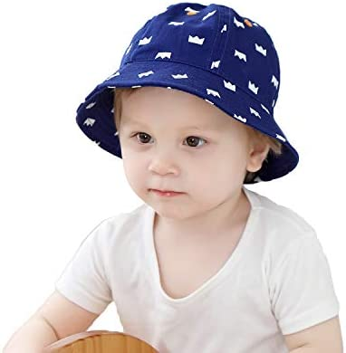 72f6e1271 Baby Girls Boys Sun Protective Hats&Caps Cute Toddler Summer Caps Kids  Cotton Bucket Hat with Strap(1-3years) Blue
