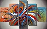 5 Pics Colorful Lines Large Modern Abstract 100% Hand Painted Oil Painting on Canvas Wall Art Deco Home Decoration (Unstretch No Frame)
