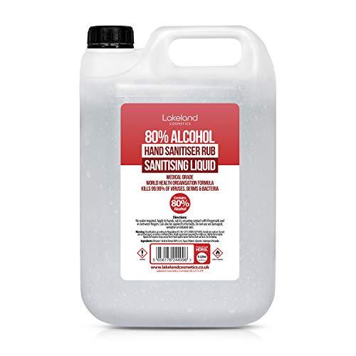 80% Alcohol Hand Sanitiser Liquid Rub – 5L Litre – Kills 99% Bacteria, Germs – Sanitizer (Single)