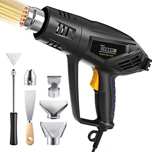 Heat Gun,TECCPO 1500W Electric Hot Air Gun with Variable Temperature Control with 3-Temp Mode 122℉~1022℉,6 Stainless Steel Accessories,Fast Heating In Seconds perfect for Shrinking PVC,Stripping Paint