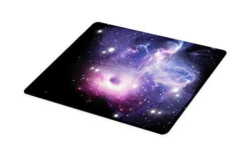 Lunarable Outer Space Cutting Board, Black Hole in The Nebula Gas Cloud in Outer Space Universe Astro Solar System, Decorative Tempered Glass Cutting and Serving Board, Small Size, Navy Purple by Lunarable