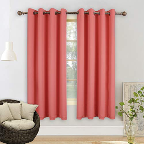 Curtain Infant - YGO Solid Thermal Insulated Grommet Blackout Window Curtain Panels for Nursery & Infant Care - Coral Color - 52