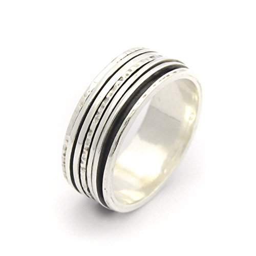 Sterling Silver oxidized women spinner ring with 5 thin rolling parts sizes 6-9 by By Nature Jewellery