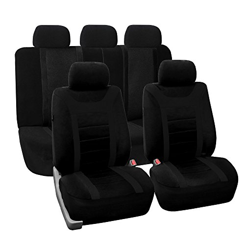 FH Group Universal Fit Full Set Sports Fabric Car Seat Cover with Airbag & Split Ready, (Black) (FH-FB070115, Fit Most Car, Truck, Suv, or Van)