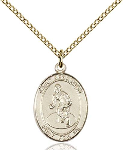 14K Gold Filled Saint Sebastian Wrestling Sports Athlete Medal, 3/4 Inch by Patron Saints by Bliss