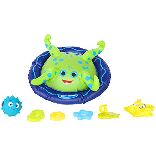 416Lg5xJdUL - SwimWays Baby Spring Float Activity Center with Canopy -  Blue/Green Octopus