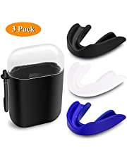 SYOSIN 3-PACK Mouth Guard Custom Mouldable Sport Mouthguard Custom Fit Gumshield For Rugby, Hockey, Boxing, Football, Basketball, Lacrosse, MMA, with 3 Mouth Guard Carrying Case