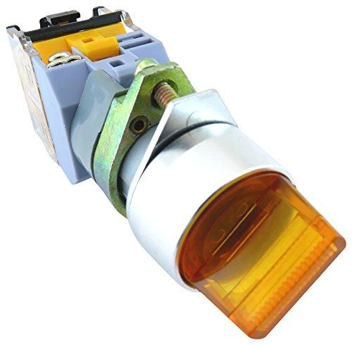 YuCo YC-SS22XPMA-I3Y-3 Illuminated Selector Switch, Yellow