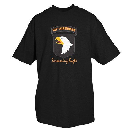 Airborne Military T-shirt (Fox Outdoor Products Army 101st Airborne One-Sided Imprinted T-Shirt, Black, X-Large)