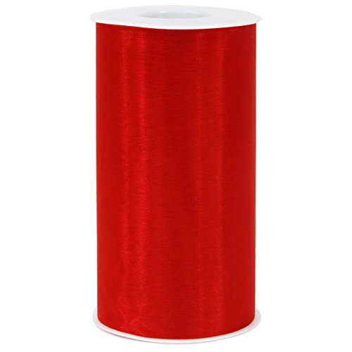"""([ 6"""" x 50yd ] Red Organza Roll for Craft and Party Decoration (Red, Organza roll))"""