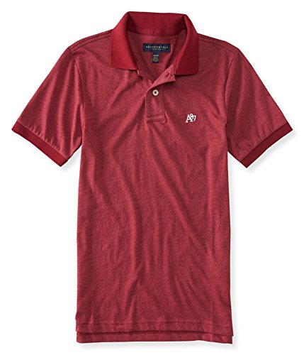 Aeropostale Mens A87 Heathered Rugby Polo Shirt, Red, Medium