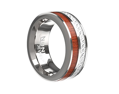 Nuni Jewelry 8MM Silver Plated Tungsten Ring Duoble Striped Silver Stripe Simulated Meteorite and Wooden Stripe Wedding Band Ring Comfort Fit (12.5)