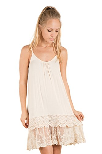 Fashionomics Womens LACE Trim Solid Slip Extender with Adjustable Strap (L, Natural)