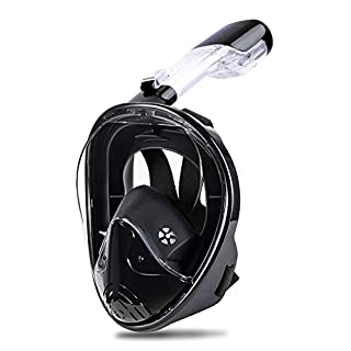 Greatever Snorkel Mask Foldable Panoramic View Easily Breathing Full Face Snorkeling Mask with Detachable Camera Mount, Dry Top Set Anti-fog Anti-leak
