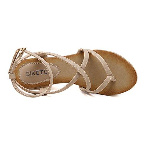 Dophingirl Womens Chique Strappy Thong Sleehak Sandalen Klassieke Comfortabele Prime Schoenen Voor Zomerkleding Jx00008 Beige