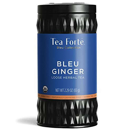 Tea Forté BLEU GINGER Butterfly Pea Blue Herbal Tea with Organic Lemongrass, Apple and Ginger, Loose Leaf Tea Tin, 2.29 oz Canister