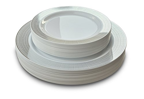 Amazon.com OCCASIONS Wedding Plastic Plates - Disposable Dinnerware for 25 guests - (50 piece set (25 guests) Linen White and Silver) Kitchen u0026 Dining  sc 1 st  Amazon.com & Amazon.com: OCCASIONS Wedding Plastic Plates - Disposable Dinnerware ...