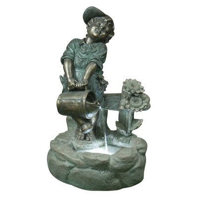 UPC 821559418609, Alpine Boy with Pouring Watering Can Fountain with LED Light