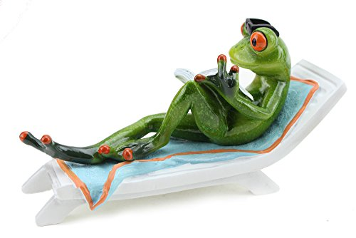 Novelty Funny Frog Figurine Reading a Book on Beach Chair Relaxing Statue Home Decor - Green and Orange (G16618) ~ We Pay Your Sales Tax