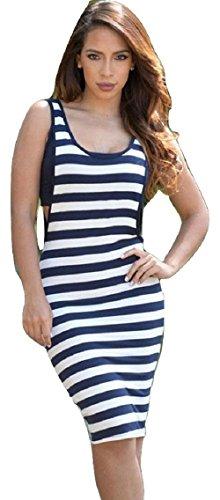 Nuevas señoras blanco y azul marino rayas midi vestido de chaleco largo vestido de fiesta vestido de verano Jersey tamaño UK 8–�?0EU 36–�?6