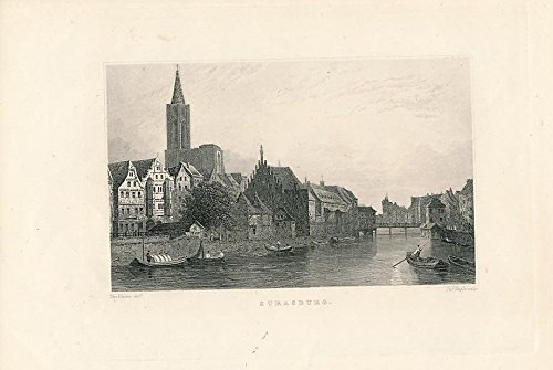 River view of Strasbourg France 1882 nice old antique panoramic print