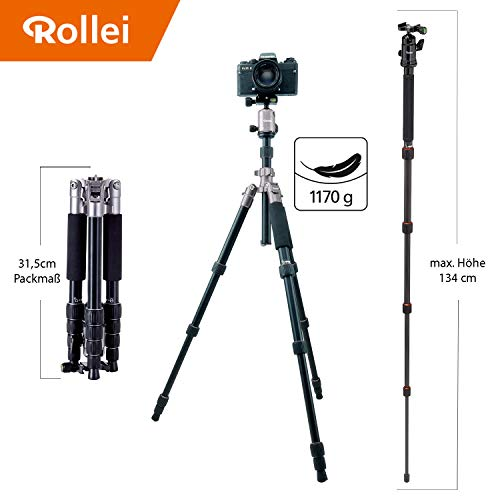 Rollei Compact Traveler No I Aluminum - for Travelling, Compact in Size, incl. Ball Head and Quick Release Plate - Arca Swiss Compatible - ()