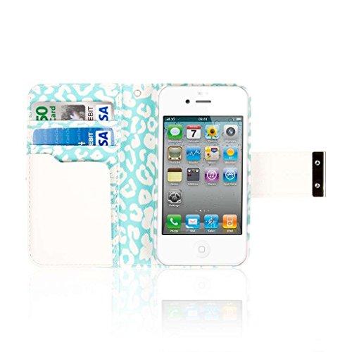 EMPIRE KLIX Klutch Designer Wallet Case Étui Coque for Apple iPhone 4 / 4S - Mint Leopard (Films de