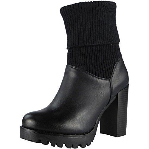 Loud Look Women High Block Heel Mid Calf Work Ankle Office Sock Boots Shoes Size 3-8 Black nvAKrxEL53