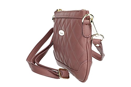 Borsa donna a tracolla mini PIERRE CARDIN rosa pelle Made in Italy VN568