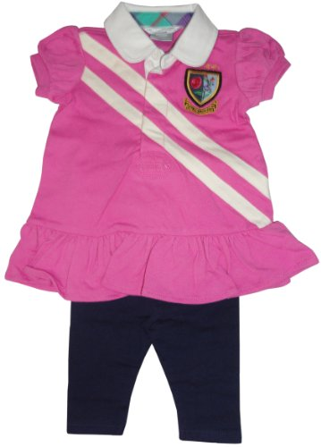 Ralph Lauren Polo Infant Girls 2 Piece Dress Outfit Pink with Navy Leggin (9 Months)