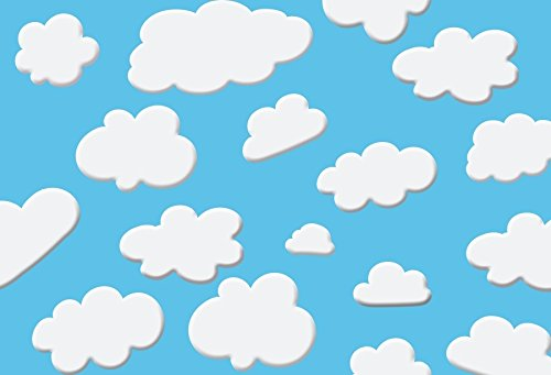 Baocicco 7x5ft Cartoon Baby Shower White Clouds Blue Backdrop Photography Background Birthday Party Baby Kids Boys Photo Portraits Room Wallpaper Decor Photo Studio Props