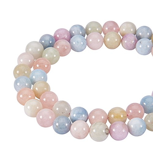 NBEADS 1 Strand Natural Morganite Beads Strands, 8mm Round Smooth Loose Beads for Jewelry Making, 48 PCS Per Strand