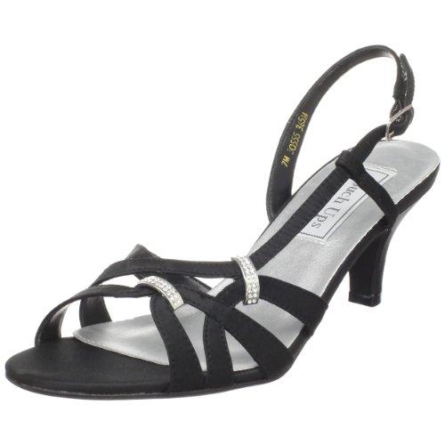 Touch Ups Women's Donetta Leather Slingback Sandal,Black Satin,6.5 M US
