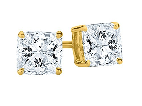 3/4 Carat Total Weight White Certified Princess Diamond Solitaire Stud Earrings Pair set in 14K Yellow Gold 4 Prong Screw Back (H-I Color VS1-VS2 Clarity)
