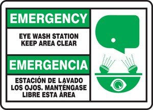 Accuform EYE WASH STATION KEEP AREA CLEAR (W/GRAPHIC) (BILINGUAL) (MSFS906VS)