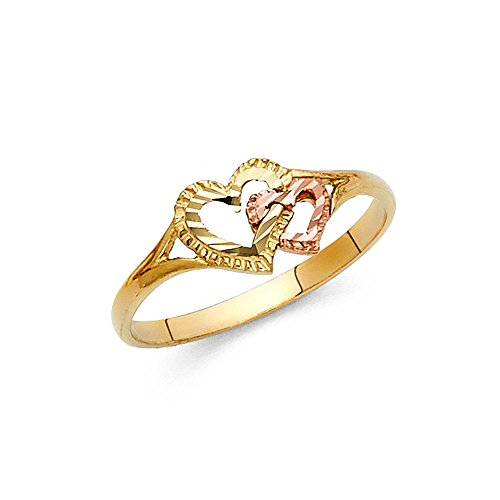 - Womens Two Tone Paradise Jewelers 14K Solid Gold Entwined Heart Ring, Size 7.5