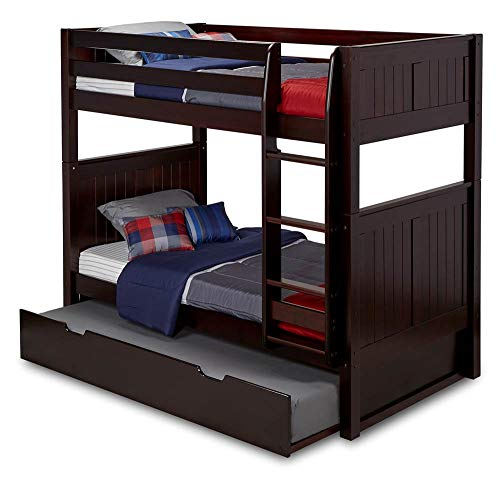 (Camaflexi Panel Style Solid Wood Bunk Bed with Trundle, Twin-Over-Twin, Side Attached Ladder, Cappuccino)