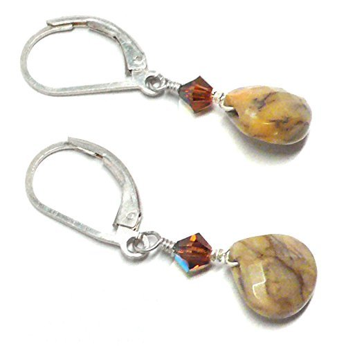 Yellow Moss Agate Briolette Lever Back Earrings Swarovski Crystal Sterling Silver (Yellow Agate Moss)