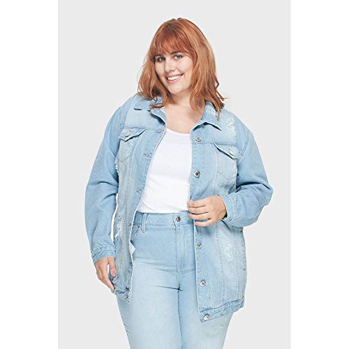 Jaqueta Oversized Delavê Upcycle Plus Size Azul-52