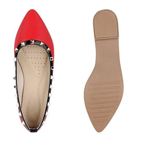 Stiefelparadies Spitze Lack Ballerinas Klassische Schuhe Nieten Metallic Steine Ballerina Flats Damenschuhe Flandell Rot Glatt Steine
