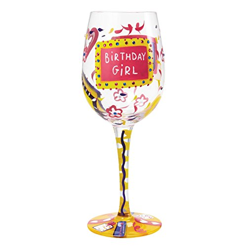 Lolita Birthday Girl Artisan Painted Wine Glass Gift ()
